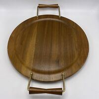 Mid Century Modern Walnut Wood Serving Tray Raised Brass Turned Handles MCM  14""