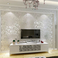 1x10M Luxury Silver 3D Damask Embossed Wallpaper Rolls Home Furniture Art Decor