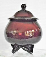 Vintage Hand Blown Cranberry Art Glass Covered Footed Bowl Candy Dish Amethyst