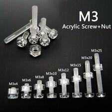25/50sets Acrylic Clear Plastic Nylon M3 Round Phillips Head Screw Bolt + Nut