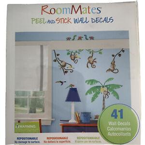 Monkey Palm Tree Wall Decal Jungle Stickers Room Dacor Kids Room decor 41pc New