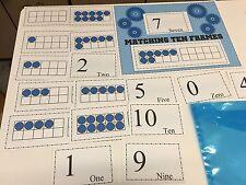 0-10  Matching Ten Frames Learning Center- Laminated - Math Mats