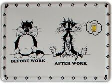 BEFORE/AFTER WORK Small Vintage Metal Tin Pub Sign