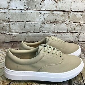 206 Collective Mens Beige Canvas Low Lace Up Sneakers Size 9 M