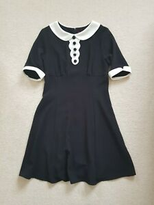 Hell Bunny Vintage 40/50s Mini Short Casual Dress - Magpie Black White S 10