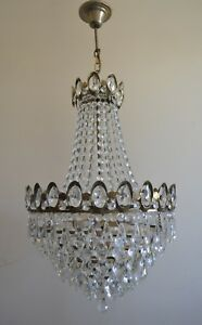 Pendant French Basket Style Vintage Brass & Crystals Chandelier Antique Lamp