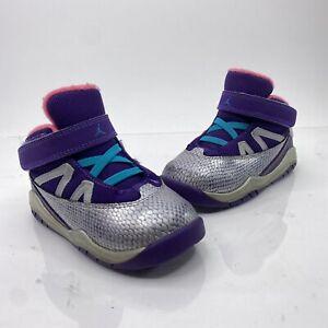 Nike Air Jordan Prime Flight Toddler Sz 8C Gray Purple Athletic Shoes 616587 508