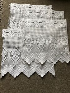 """VINTAGE 4 X WHITE COTTON CAFE NETS EACH SZE 35"""" X 17"""" USED FOR CHILDS PLAYHOUSE"""