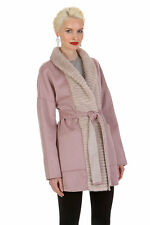 Guy Laroche Mink Collar Coat Cashmere Jacket Women – Reversible to Morning Beige