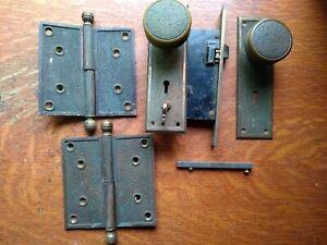 """Antique Bronze Entry Door Set Doorknobs, Doorplates, Lock, Hinges """"Damascene"""" RE"""
