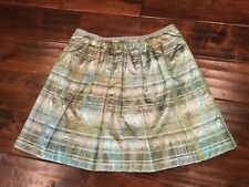 J. Crew Collection Green & Silver Plaid Shimmering Skirt, Size 00