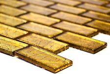 GOLD Translucent Mosaic tile GLASS WALL Brick Bath&Kitchen Splashback-120-0744_b