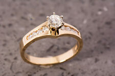 18k Gold Diamond Engagement Ring, 0.57 Total Carat Weight Solitaire