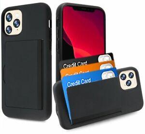 iPhone 11 / 11 Pro Max - Black Hybrid Credit Card ID Pocket Holder Nonslip Case