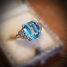 Vintage Diamond and Aqua Blue Zircon 18k Platinum Set Ring