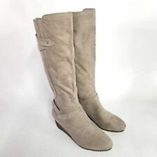 Dr Scholls Womens 9 M Check It Knee High Boots Taupe Wedge Heels Side Zip New