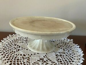 "Vintage Powell & Bishop Ironstone White Pedestal Cake Stand 8 3/4"" In Diameter"