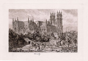"Impressive ORIGINAL 1800s Alfred DAWSON Etching ""Beverley Minster"" FRAMED COA"