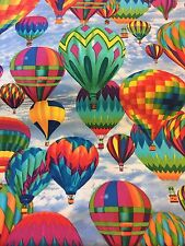 Cotton Timeless Treasure cotton fabric FQ Brightly Coloured Hot Air Balloon