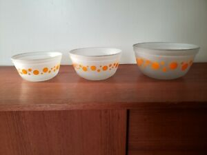 Vintage Anchor Hocking Satin Orange Dot Mixing Bowl Set - 2.5 , 1.5 , 1 Litre