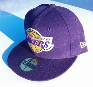 LOS ANGELES LAKERS NBA Basketball Purple New Era 5950 Fitted Hat Cap NWT Size 7