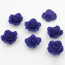 50pcs Blue Rose Flower Shape FIMO Loose Spacer Beads Fit Accessories Flatback L