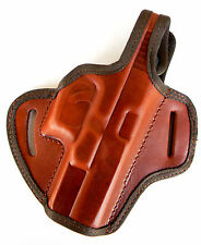BROWN LEATHER OWB BELT SLIDE HOLSTER w/ THUMB BREAK for S&W M&P 9C 40C COMPACT