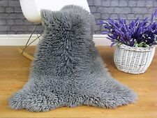 LUXURY REAL BRITISH  SHEEPSKIN  RUG  SILVER/GREY dyed CURLY HAIR SINGLE  238