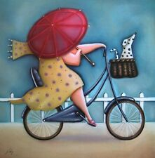 Jo PARRY: Bicycle Lady III finished picture 30x30 Wall Art Dog Bike Funny