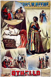 Old Vintage Theatre Poster Othello Thomas Keene Fade Resistant HD Print / Canvas