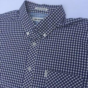 Ben Sherman mens Shirt Gingham Button Up Size XL Blue White rrp$100