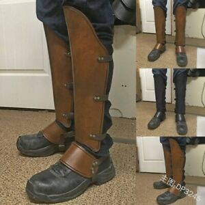 Medieval Larp Greaves Leg Leather Strap Wrap Armor Part Warrior Costume Boot Set
