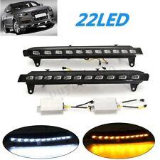 2x Daytime Running Lights White LED DRL Fog Yellow Turn Signal For Audi Q7 07-09