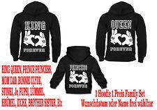 King Queen Hoodie Family 3er Set Pullover Partner Look Viele Farben Gr XS - 5XL