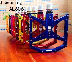 Road MTB Mountain Bike XC Bicycle Pedal 3 Bearings Flat Cycling Pedals BIG DOG