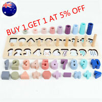 Children Gift Stacking Wooden Toys Counting Board Montessori Math Toys Teaching