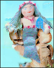 "Vintage Knitting Pattern LITTLE MERMAID DOLL to make SOFT KNIT TOY • 24"" Tall DK"