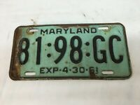 VINTAGE Maryland   YEAR -1961 LICENSE PLATE 81-98-GC