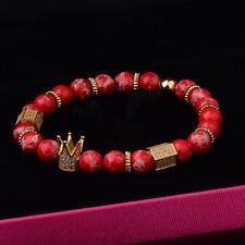 Zircon Gold Crown Charm Women Men Red Stone 8MM Beads Bracelets Birthday Present