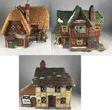 1994 Dept 56 Dickens Village #5824-6 Portobello Road Set of 3 Thatched Cottages