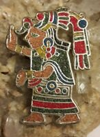Hecho en Mexico Sterling Silver Mayan Aztec Warrior Sand Art Pendant Pin Signed
