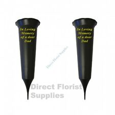 2 X Dad In Loving Memory British Made Black Grave Flower Vase Funeral Spike