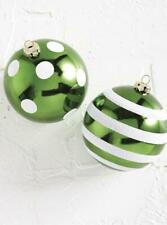 """NEW Raz 4"""" Green Dotted or Striped Ball Christmas Ornament 4002255"""