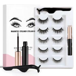 5 Pairs Waterproof Magnetic Eyeliner with Eyelashes and Tweezer Kit Long Lashes