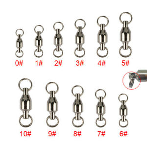 Stainless Fishing Ball Bearing Swivels Split Rings Sea Connector 20/ 50/ 100Pcs