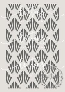 A4 STENCIL - GATSBY 002 Art Deco 1920 PATTERN Fabric Furniture Vintage 190 MYLAR