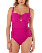 Swim Solutions Womens Shirred Tummy-Control One-Piece Swimsuit 12 Fuchsia Pink