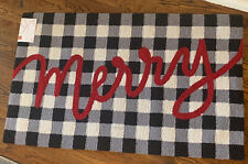 """New Merry Christmas Holiday Plaid """"Merry"""" Accent Rug 27x45 Gray Black White Red"""