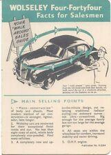 Wolseley Four-Fortyfour 4/44 1953 Original UK Salesmans Fact Card No. H.5334