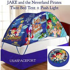 Kids Disney JAKE The Neverland Pirates BED TENT+Push Night Light Set TWIN/Single